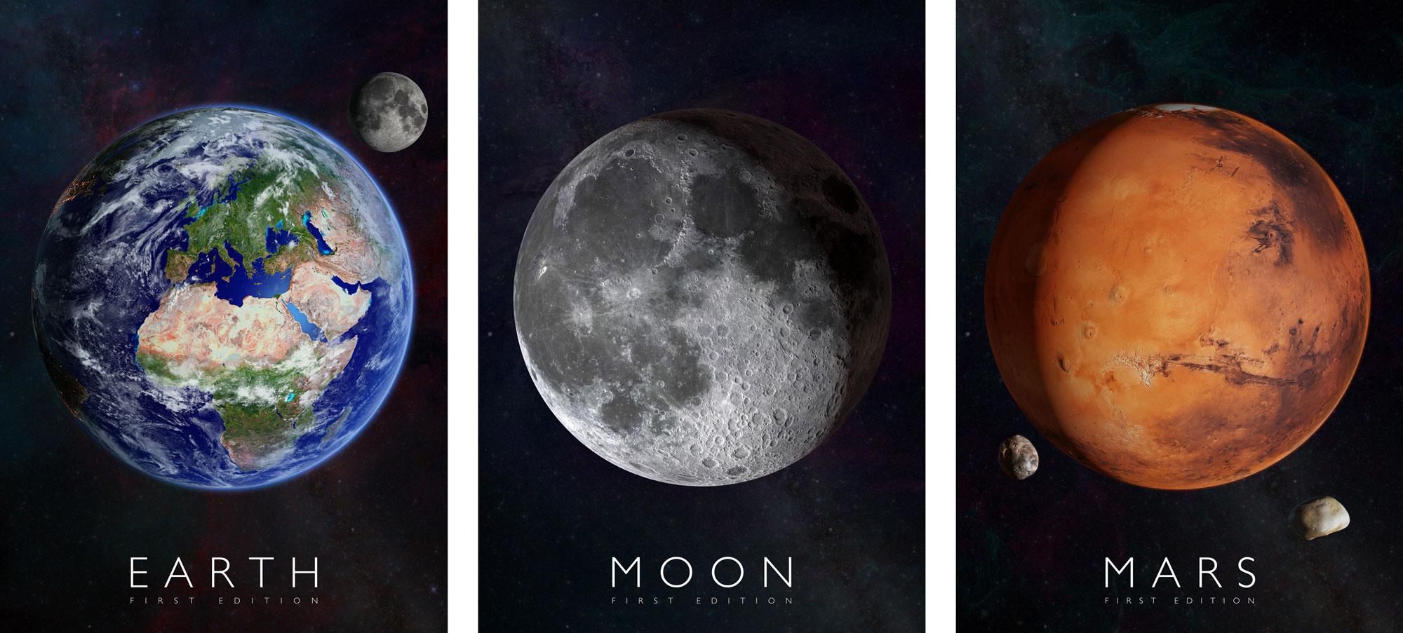 Plagáty Zem, Mesiac a Mars pre rozšírenú realitu